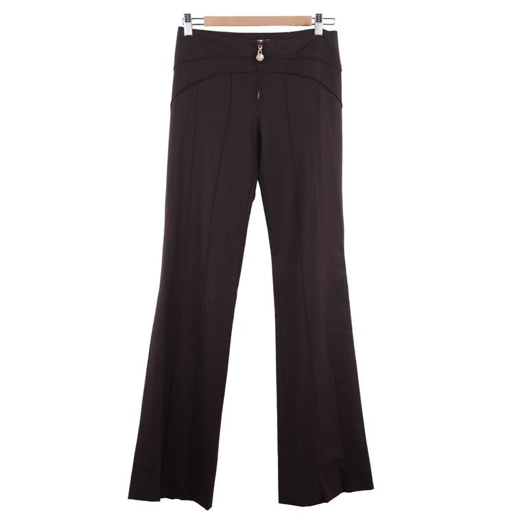 VERSACE Brown Stretch Wool TROUSERS Pants MEDUSA 2005 Fall Collection Sz 40 IT 1