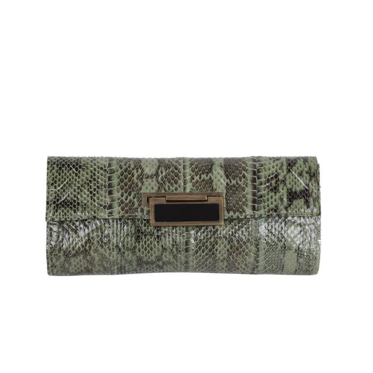 R Y AUGOUSTI Green Python Snakeskin Leather CLUTCH Handbag PURSE Pouch BAG