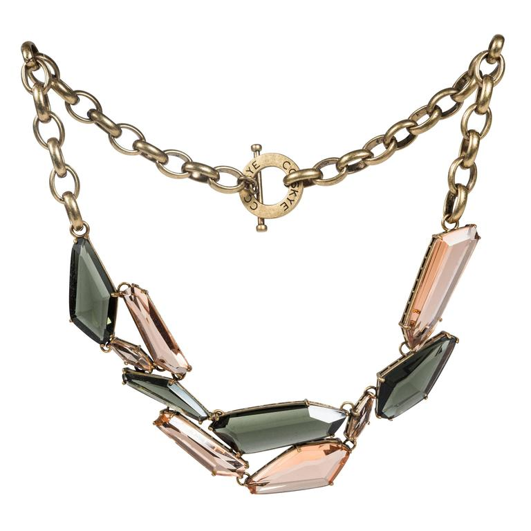 Gilt Metal & Faceted Crystal Necklace by CC Skye 1
