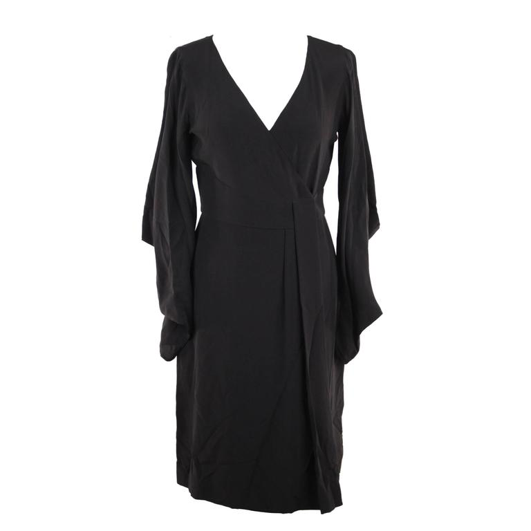 VERSACE Italian Black Pure Silk WRAP DRESS w/ Blouson Sleeves Sz 40 IT