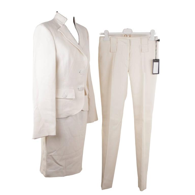 VERSACE Ivory Wool 3 PIECES SET Blazer Skirt Trousers SUIT Medusa SZ 40 IT AM