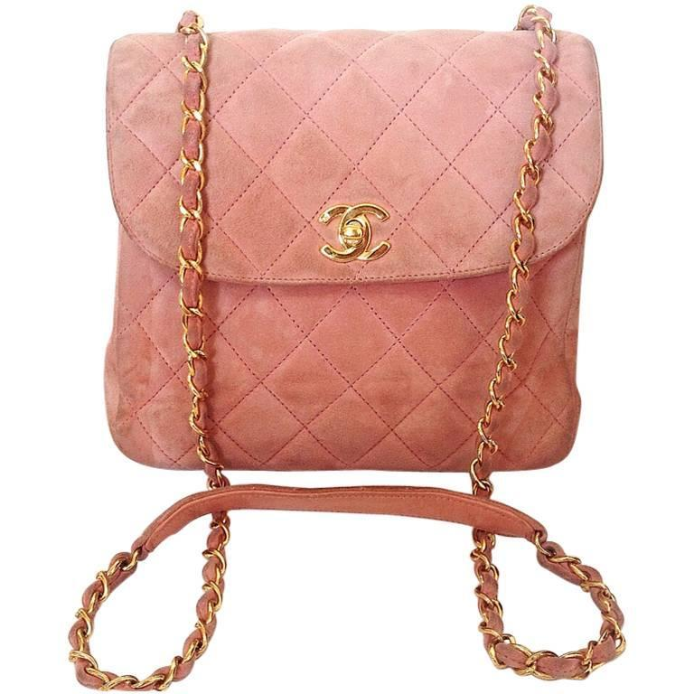 Vintage CHANEL light pink quilted suede 2.55 shoulder bag with gold tone chain 1
