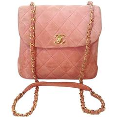 Vintage CHANEL light pink quilted suede 2.55 shoulder bag with gold tone chain
