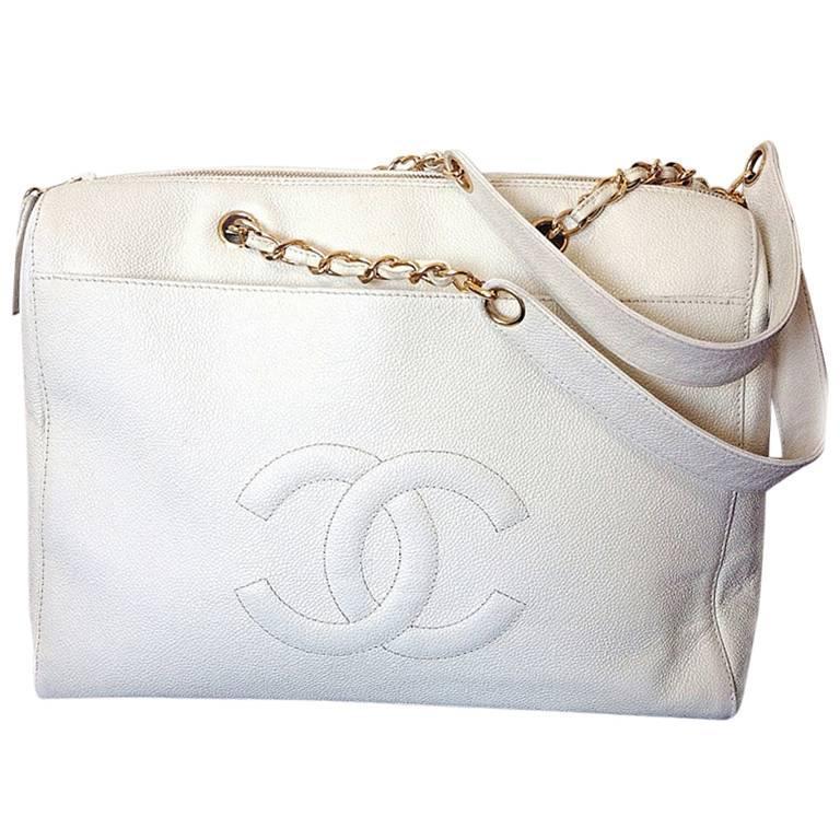 Vintage Chanel White Color Caviar Leather Chain Shoulder Large Tote Bag