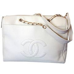 Vintage CHANEL white color caviar leather chain shoulder large tote bag