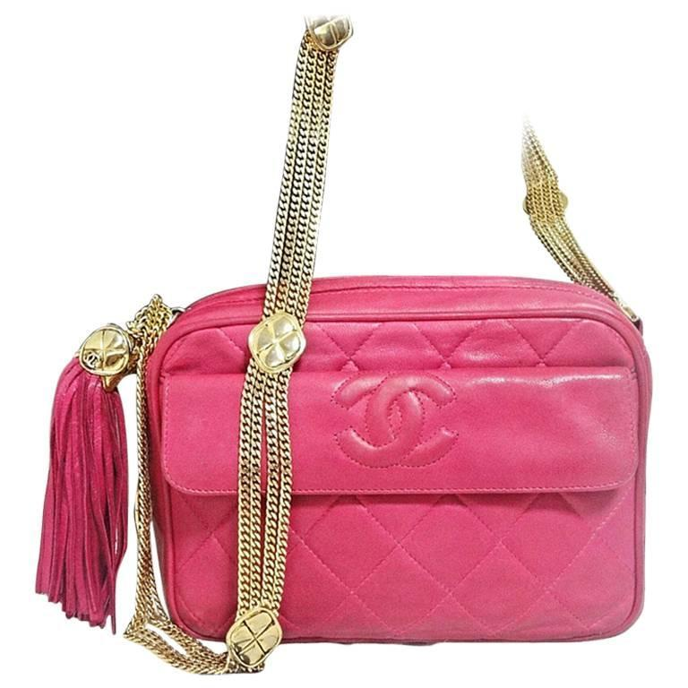 Vintage CHANEL pink lambskin camera bag style jewelry chain shoulder bag. 1