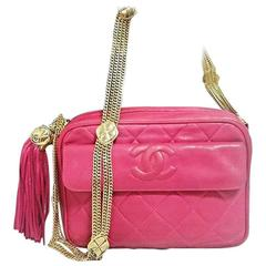 Vintage CHANEL pink lambskin camera bag style jewelry chain shoulder bag.