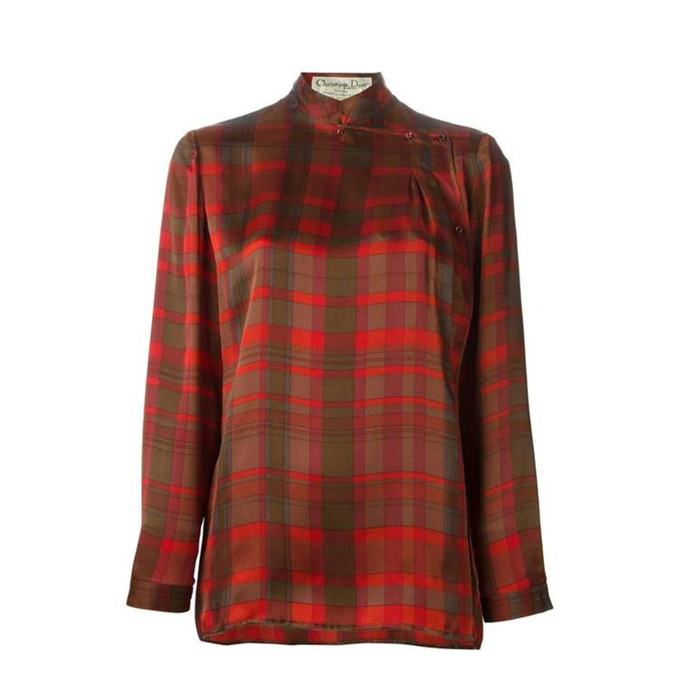 Christian Dior Silk checked Blouse