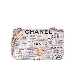 Chanel Medium Graffiti Logo Newspaper Print Double Flap Bag RUNWAY JaneFinds