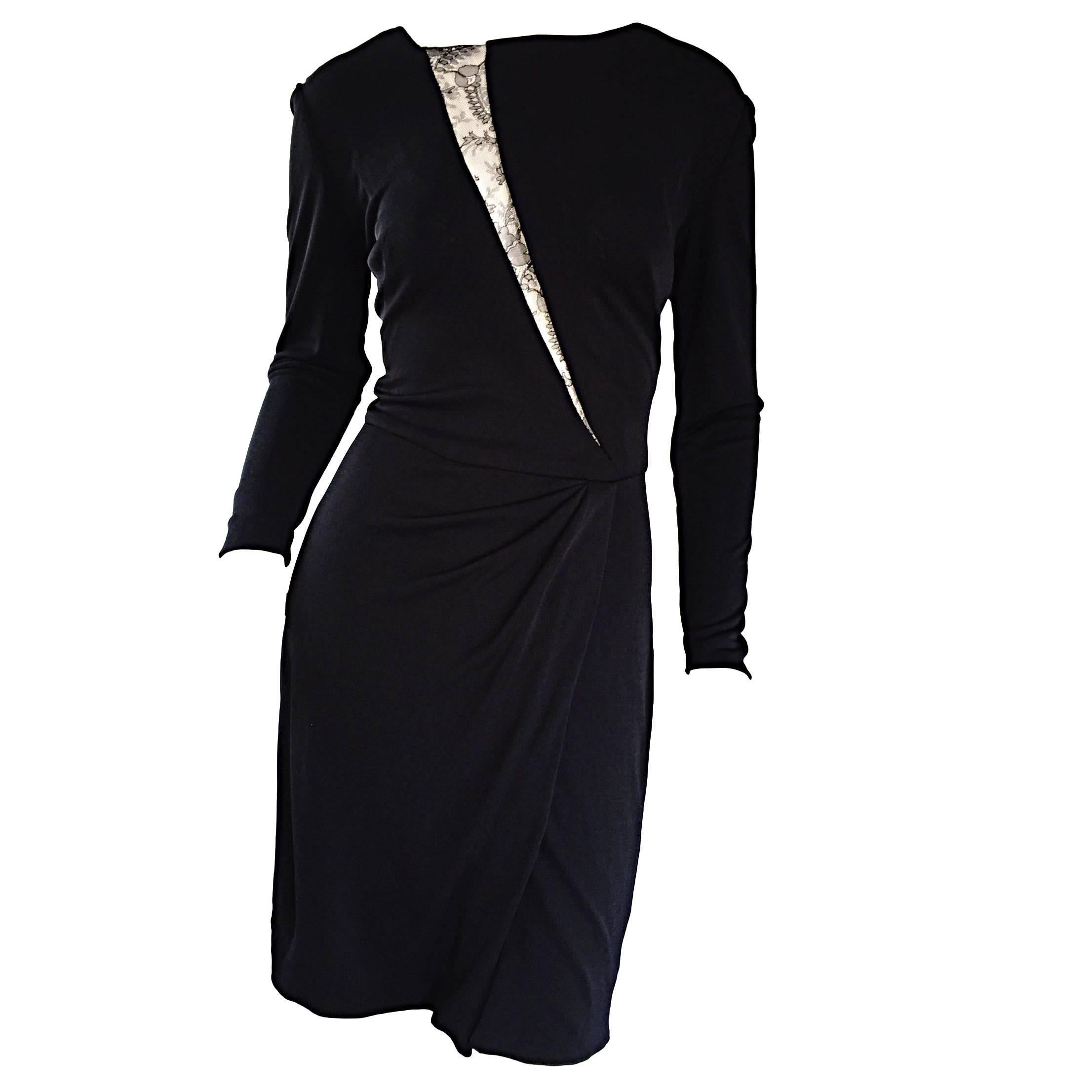 Beautiful Vintage Vicky Tiel Couture Black Jersey Ruched Dress w/ Lace Cut - Out