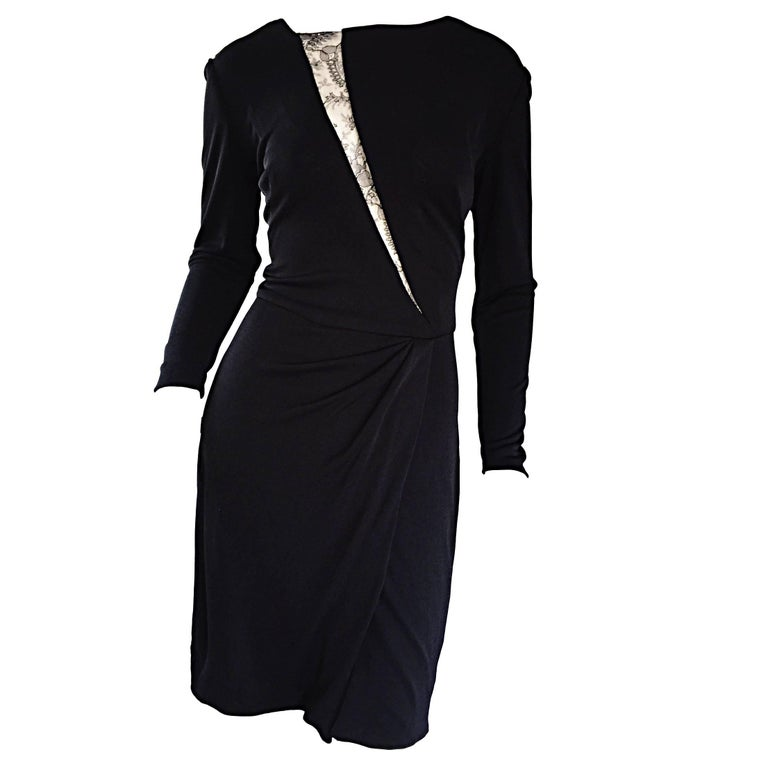Beautiful Vintage Vicky Tiel Couture Black Jersey Ruched Dress w/ Lace Cut - Out For Sale