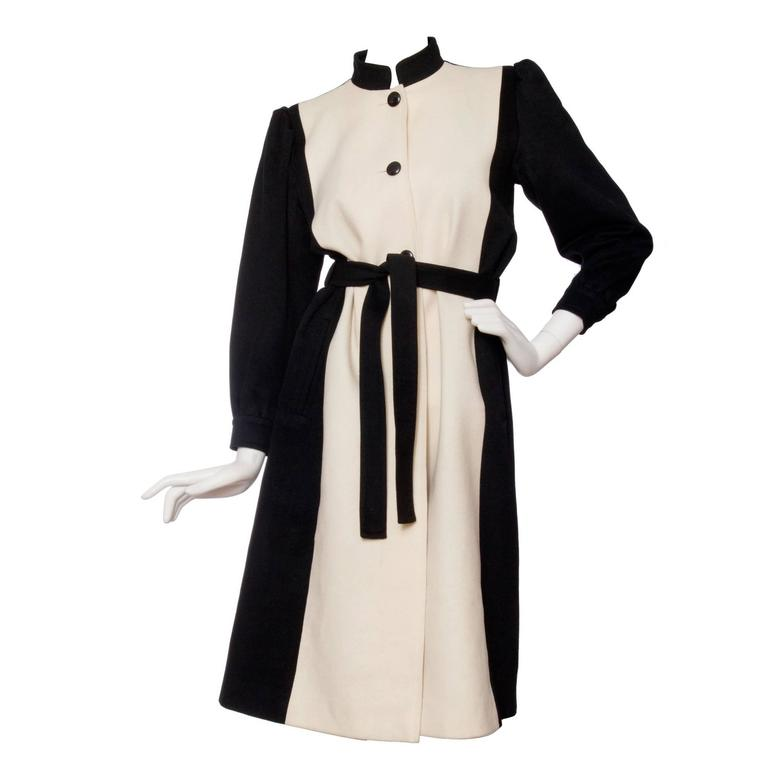 1980s Yves Saint Laurent Black & White Wool Coat 1