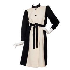 1980s Yves Saint Laurent Black & White Wool Coat