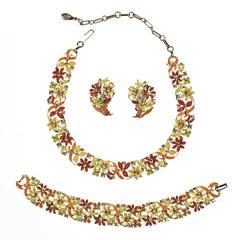 Vintage Orange Lisner Enameled Floral Necklace Set