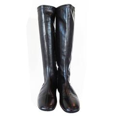 """NEW Christian Louboutin Black Leather Flat 15"""" Boots"""