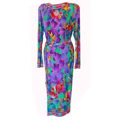 Leonard Paris Vibrant Floral Print Silk Jersey Dress with Gold Tassel Belt 1980s