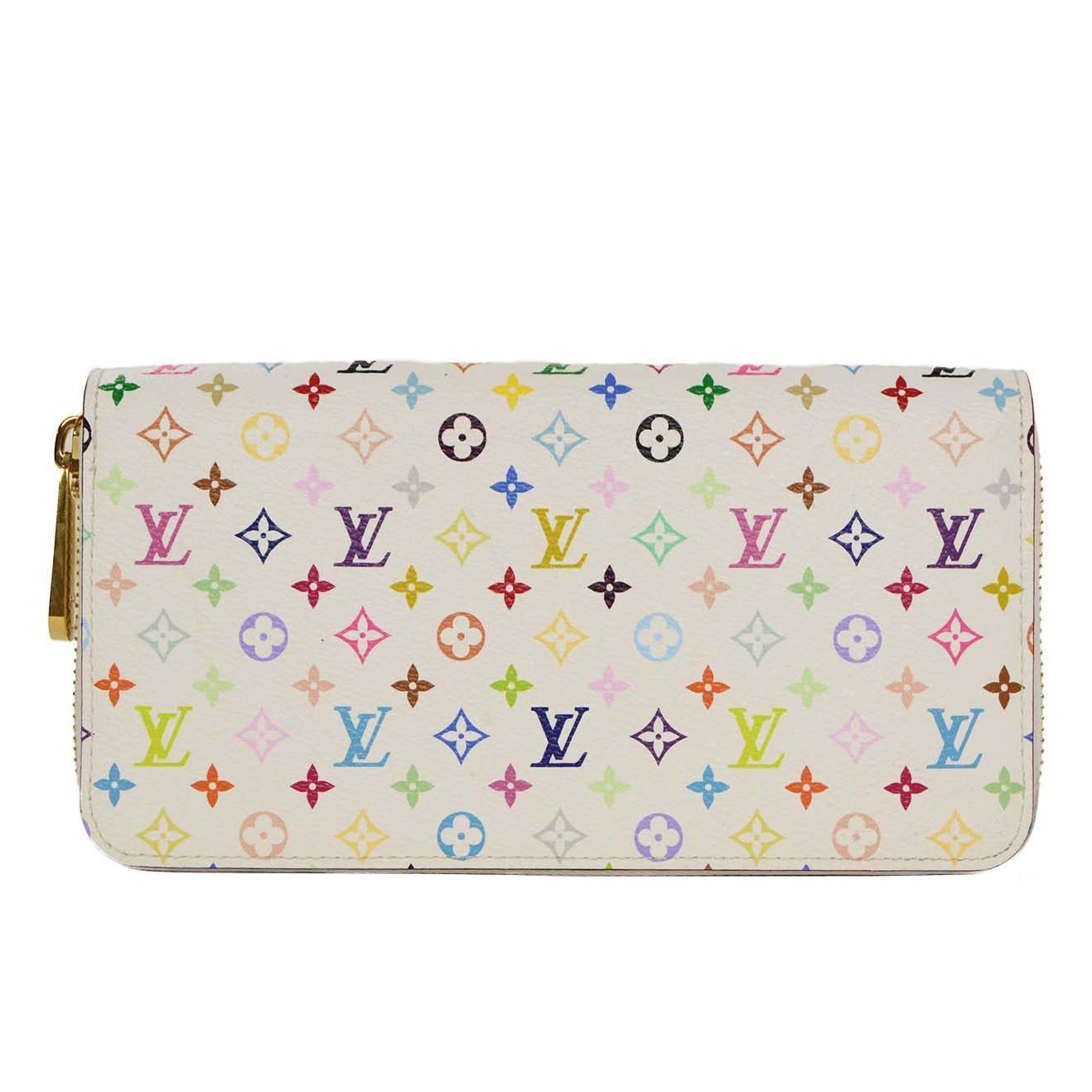 Louis Vuitton White And Multi Color Monogram Zippy Wallet