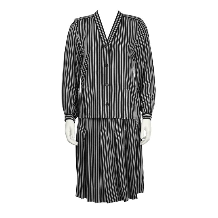 1980's Givenchy Black and White Striped Set