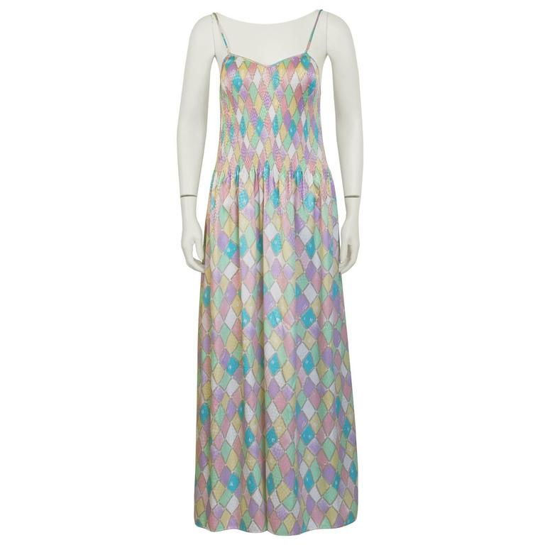 1980's Mary McFadden Pastel Pleated Dress 1