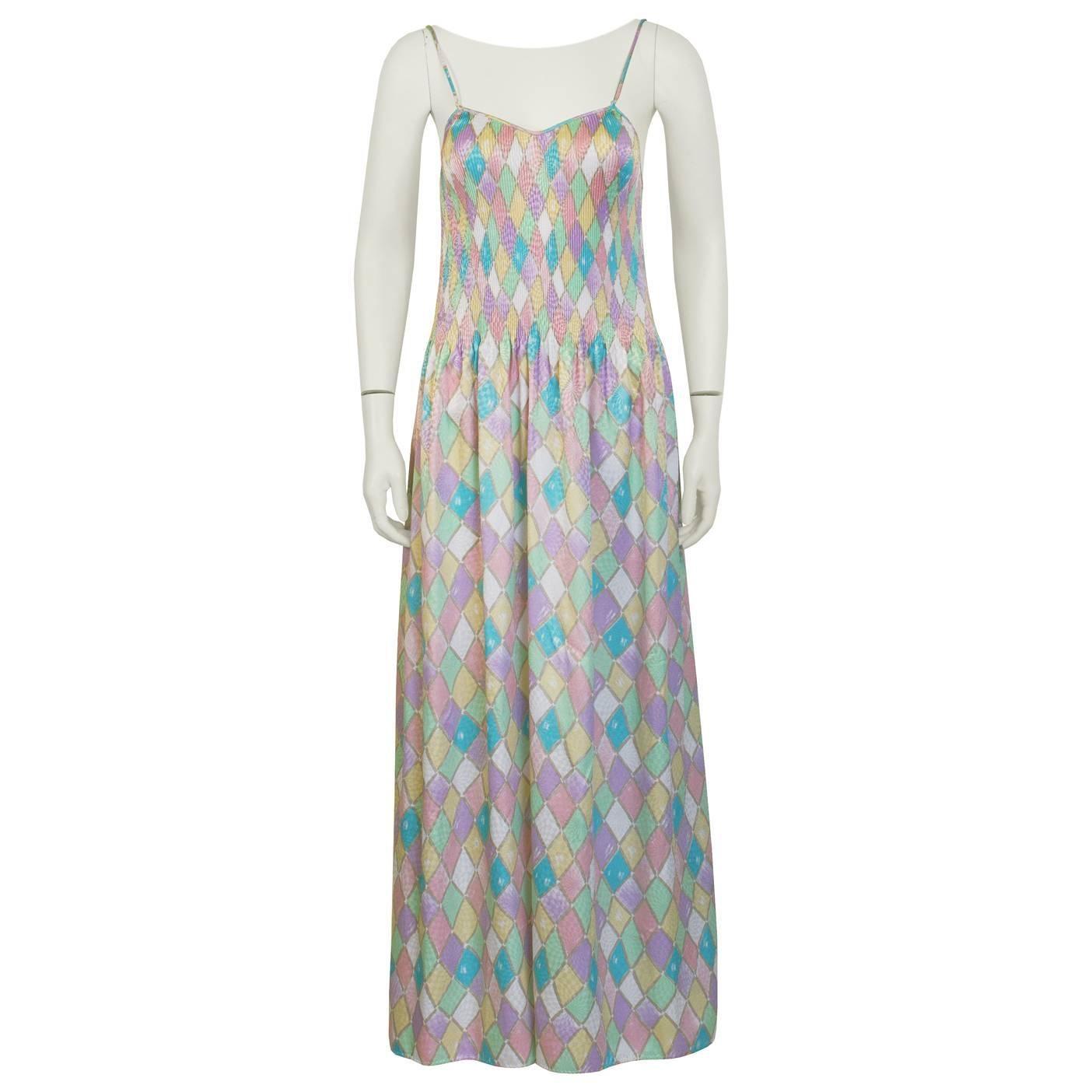 1980's Mary McFadden Pastel Pleated Dress
