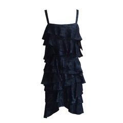 Moschino Couture Vintage 1990s Black Floral Tiered Ruffle Party Dress