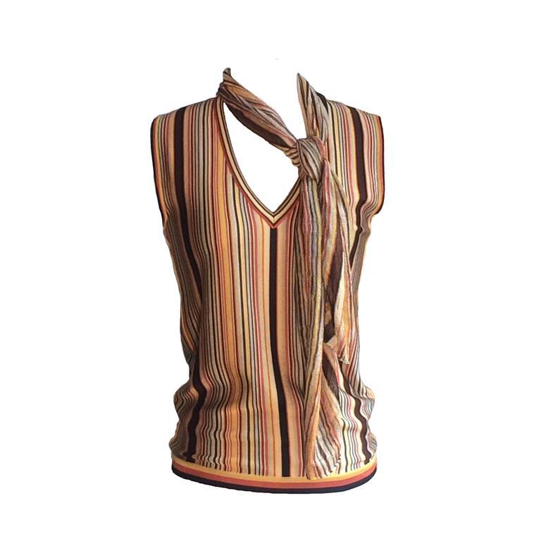 Hermes Paris Golden Yellow & Orange Sleeveless Striped Scarf Sweater  For Sale
