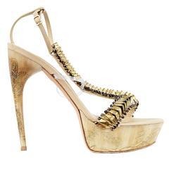 Alexander McQueen Etched Fishbone Platform Sandals