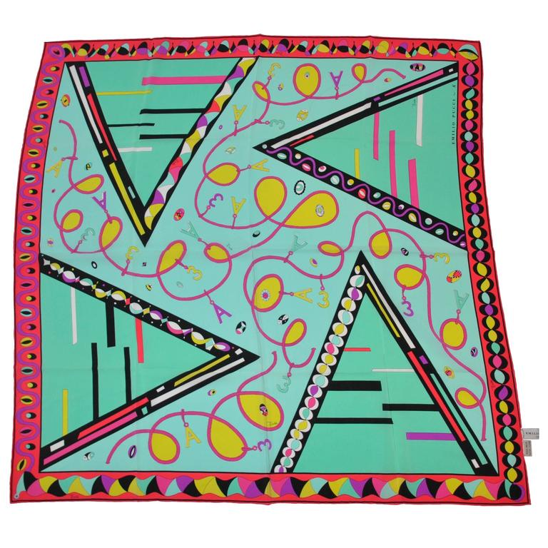 Emilio Pucci for A Bold Multi-Color Abstract Silk Scarf For Sale