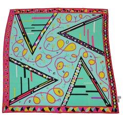 Emilio Pucci for A Bold Multi-Color Abstract Silk Scarf