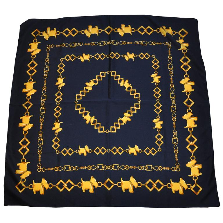 """Navy & Gold """"Scotties"""" Acetate Scarf For Sale"""