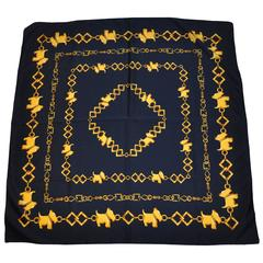 "Navy & Gold ""Scotties"" Acetate Scarf"