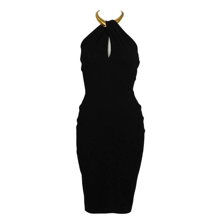 Early 1990's Donna Karan Black Halter Dress with Gold Choker 1