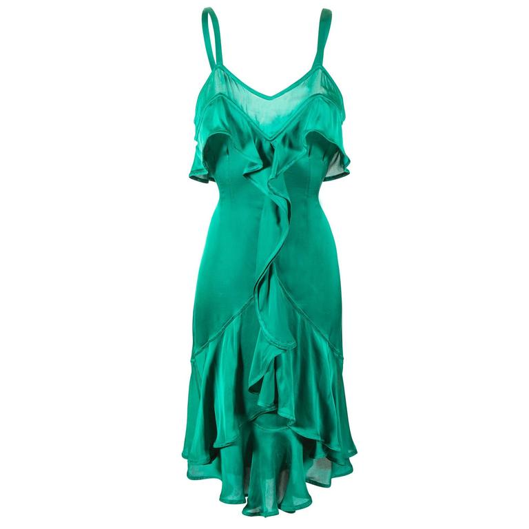 Tom Ford for Yves Saint Laurent Fall 2003 Emerald Silk Ruffle Dress Demi Moore 1