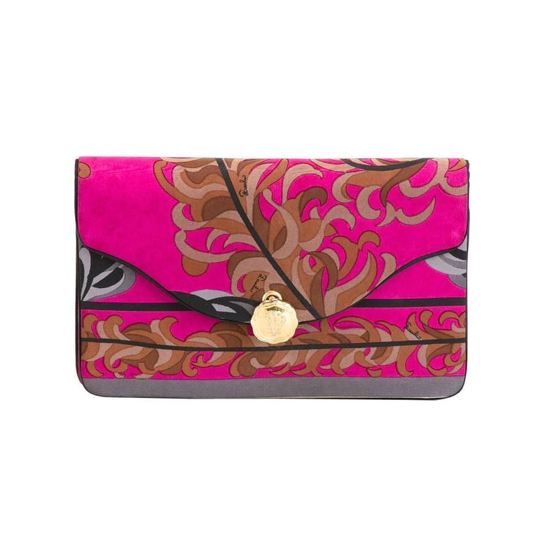 Gorgeous Emilio Pucci Silk Foliage clutch 70s For Sale