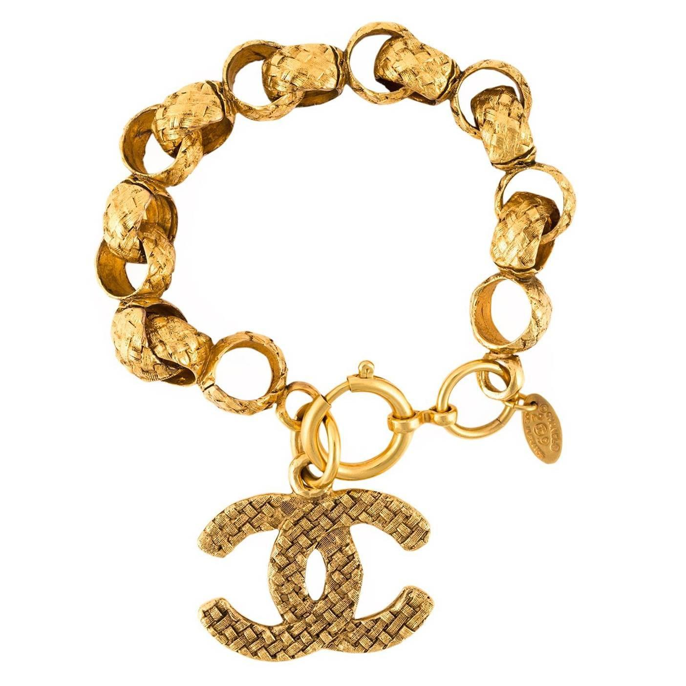 and gorgeous chanel logo bracelet c 1989 at 1stdibs