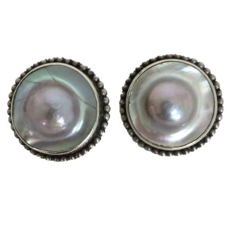 Stephen Dweck Sterling Silver With Blister Pearl Earrings For