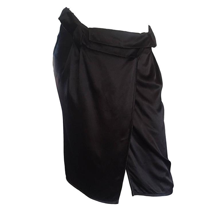 Brand New Miu Miu Black Silk Asymmetrical Wrap Skirt BNWT