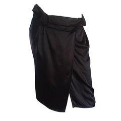 Brand New Miu Miu Black Silk Asymmetrical Draped Wrap Skirt NWT