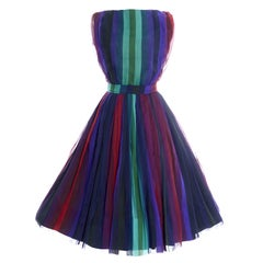 1960s Silk Chiffon Vintage Dress 2 pc Stripes Nathalie of California Bullocks