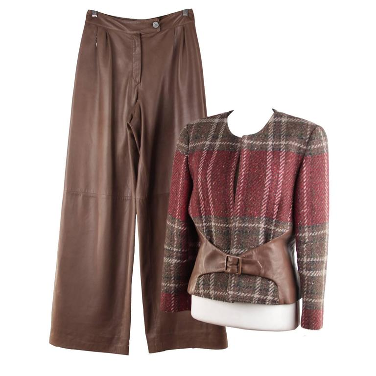 VALENTINO Wool Plaid Checkered & Leather SUIT Jacket & Pants SET Co Ord Sz 8