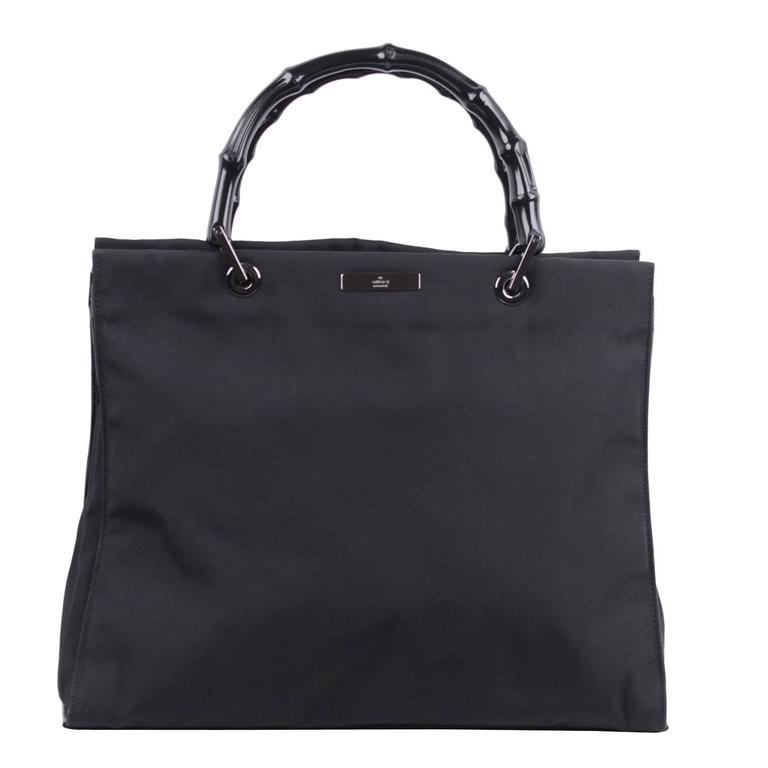 GUCCI Italian Black Canvas TOTE Handbag SHOPPING BAG w ...