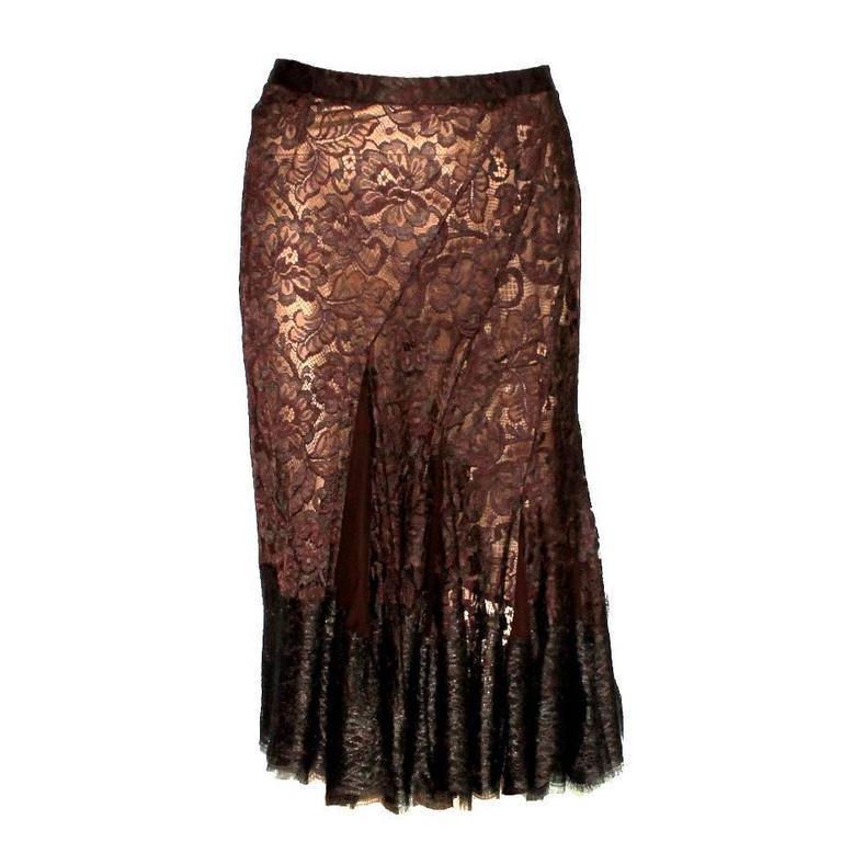 Dolce & Gabbana Box Pleated Lace Silk Skirt