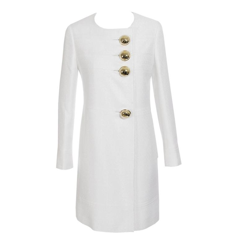 Beautiful Versace Ivory Coat with XL Buttons