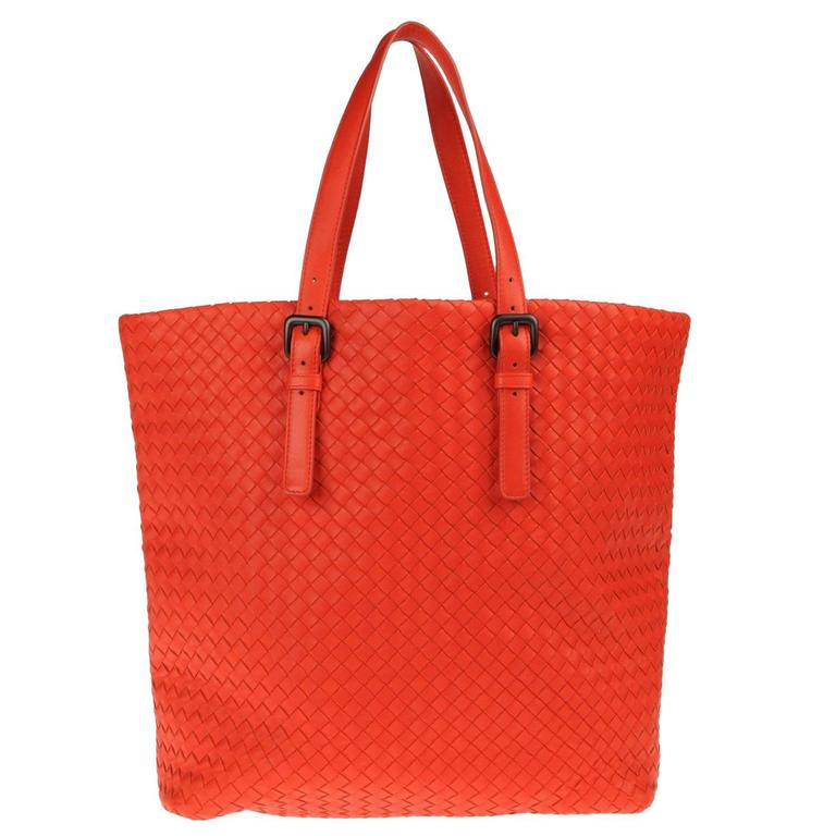 fd09e53ea Bottega Veneta Extra Large Orange Intrecciato Nappa Tote Bag and Mirror For  Sale