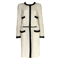 Rare Collector's CHANEL Signature Tweed White and Black Coat with Belt