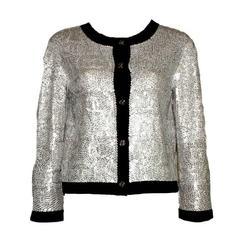 Amazing CHANEL Shiny Printed Sequin CC Logo Cashmere Cardigan