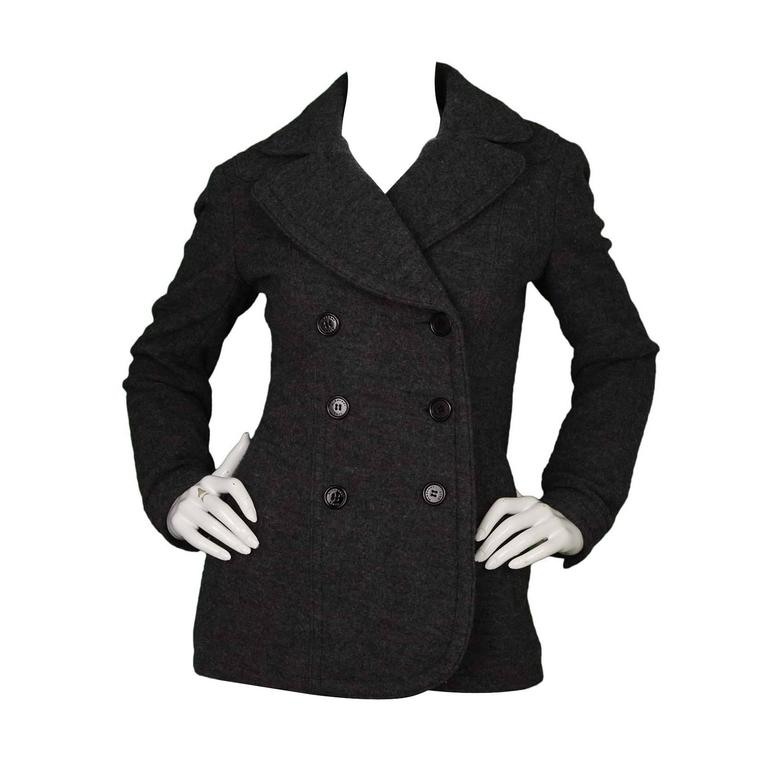 78da6bc78 Burberry Brit Grey Wool Double Breasted Pea Coat sz 6 For Sale at ...