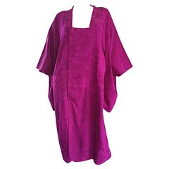 Vintage Japanese Fuchsia Purple Silk Kimono Jacket w/ Amazing Oversized Sleeves