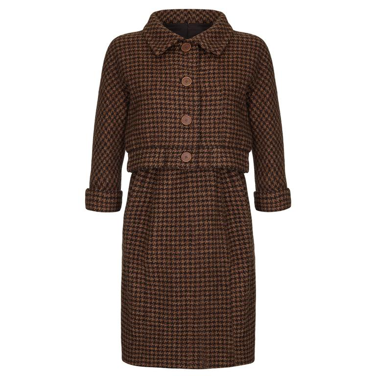 1960s Haute Couture Balenciaga Brown Tweed Suit