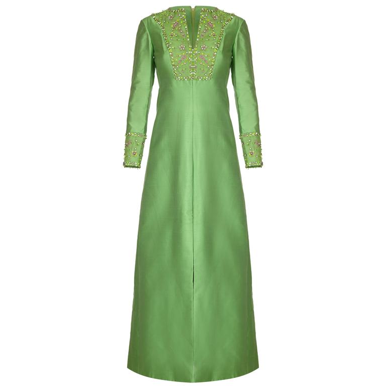 1960s Green Silk Gino Charles Beaded Dress